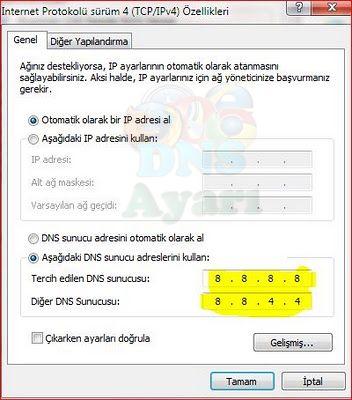 Windows 7 DNS Değiştirme (4)